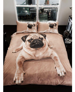 Pug Puppy Double Duvet Cover and Pillowcase Set