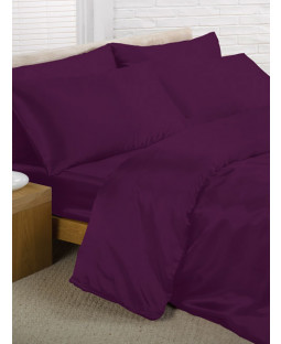 Purple Satin Double Duvet Cover, Fitted Sheet and 4 pillowcases Bedding