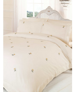 Cream / Yellow Alicia Floral King Size Duvet Cover Bedding Set
