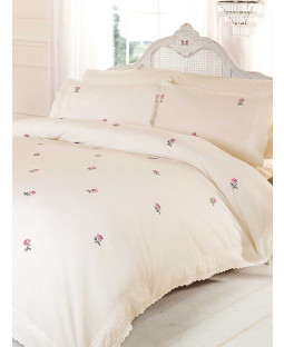 Alicia Floral Cream / Pink Double Duvet Cover and Pillowcase Set