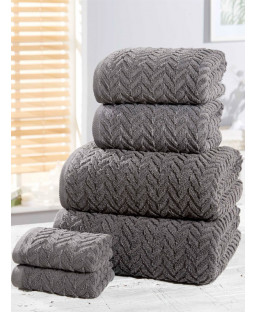 Herringbone 6 Piece Towel Bale Charcoal