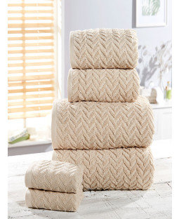 Herringbone 6 Piece Towel Bale Natural