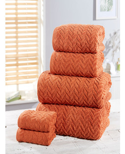 Herringbone 6 Piece Towel Bale Orange