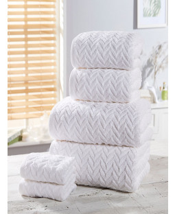Herringbone 6 Piece Towel Bale White