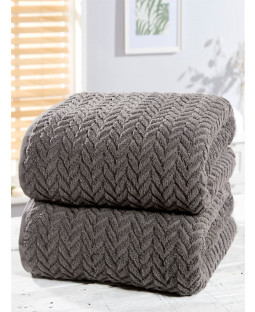 Herringbone 2 Piece Towel Bale Charcoal