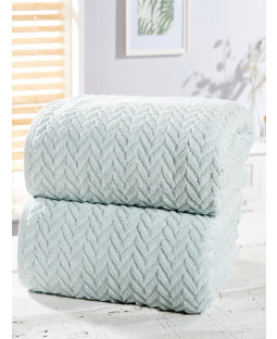 Herringbone 2 Piece Towel Bale Duck Egg