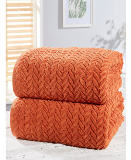 Herringbone 2 Piece Towel Bale Orange