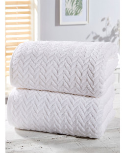 Herringbone 2 Piece Towel Bale White