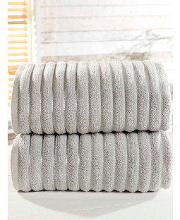 Ribbed Towel 2-PC Silver