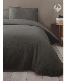 Snuggle Bedding Teddy Fleece Duvet Cover Set - Double, Charcoal