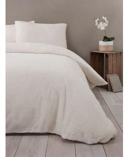 Snuggle Bedding Teddy Fleece Duvet Cover Set - Double, Cream