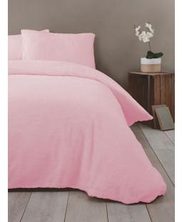 Snuggle Bedding Teddy Fleece Duvet Cover Set - Double, Pink