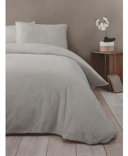 Snuggle Bedding Teddy Fleece Duvet Cover Set - Double, SIlver