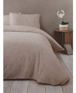 Snuggle Bedding Teddy Fleece Duvet Cover Set - King Size, Mink