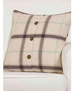 Belle Maison Cushion Cover  - Plaid Check Range, Natural/Cream