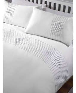 Boston Duvet Cover and Pillowcase Bed Set - Double, White