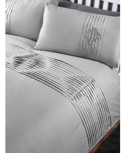 Boston Duvet Cover and Pillowcase Bed Set - Super King, Grey