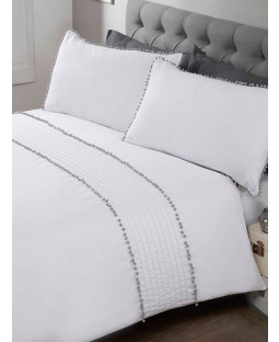 Pompom Duvet Cover and Pillowcase Bed Set - Double, white and grey