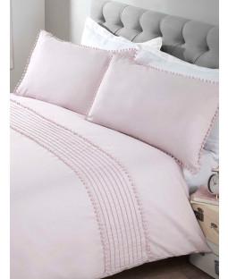 Pompom Duvet Cover and Pillowcase Bed Set - Single, Blush