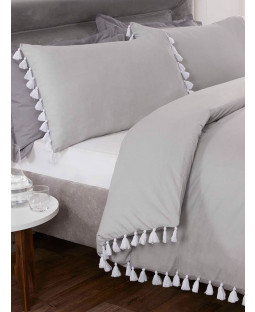 Tassel Duvet Cover and Pillowcase Bed Set - Double, Silver