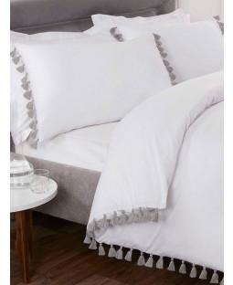 Tassel Duvet Cover and Pillowcase Bed Set - Double, White