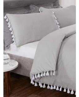 Tassel Duvet Cover and Pillowcase Bed Set - Single, Silver