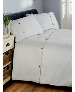 Waffle Duvet Cover and Pillowcase Bed Set - Single, Silver