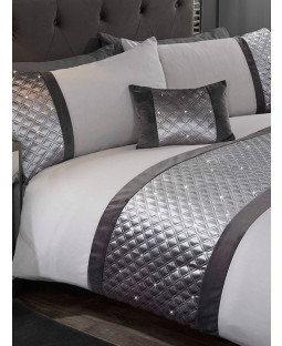 Hollywood Duvet Cover and Pillowcase Bed Set - Double, Silver