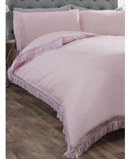 Tia Trelis Duvet Cover and Pillowcase Bed Set - Double, Blush