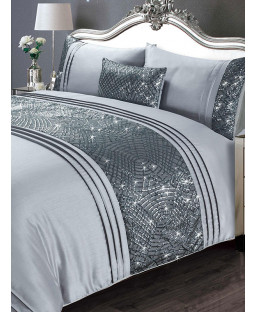 Charleston Duvet Cover and Pillowcase Bed Set - Double, Grey