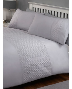 Porto Duvet Cover and Pillowcase Bed Set - Double, Silver