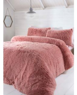 Luxury Fur Bedding Duvet Cover Set - Single, Blush