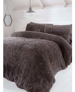 Luxury Fur Bedding Duvet Cover Set - Single, Charcoal