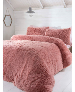 Juego de funda nórdica con ropa de cama de piel de lujo - Doble, Blush