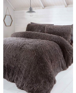 Ensemble de housse de couette en fourrure de luxe - Très grand lit, anthracite