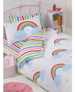 Rainbow Sky Toddler Bed Junior Duvet Cover and Pillowcase Set
