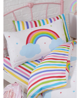 Rainbow Sky Striped Single Fitted Sheet and Pillowcase Set