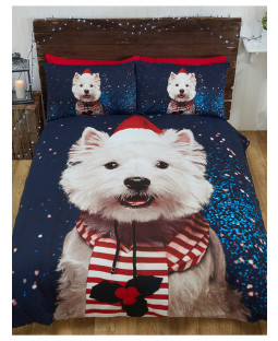 Christmas Westie Dog King Duvet Cover and Pillowcase Set