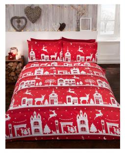 Juego de funda nórdica King Size de Reindeer Road, algodón cepillado, navidad - Rojo