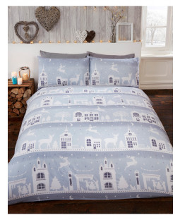 Reindeer Road Brushed Cotton Christmas King Size Duvet Cover Set - Grey
