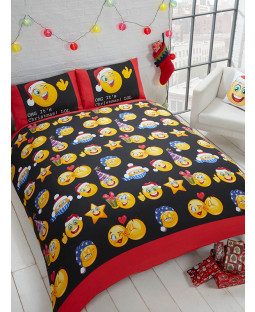 Emoji Icons Christmas Single Duvet Cover Bedding Set