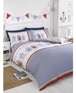 Beach Hut Single Duvet Cover and Pillowcase Set