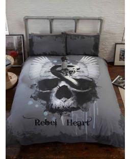 Rebel Heart Skull Double Duvet Cover and Pillowcase Set