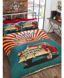 Retro Garage Single Duvet Cover Bedding Set