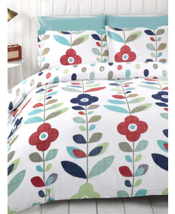 Floral King Size Reversible Duvet Cover and Pillowcase Set - Lulu Design