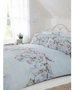 Eloise Floral King Size Duvet Cover and Pillowcase Set - Duck Egg