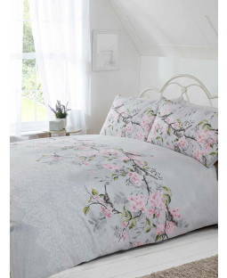 Eloise Floral King Size Duvet Cover and Pillowcase Set - Grey