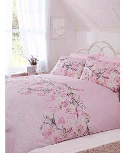 Eloise Floral King Size Duvet Cover Bedding Set - Pink