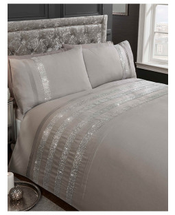 Carly Diamante Grey Double Duvet Cover Set
