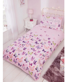 Flitter Flutter Butterfly Single Duvet Cover and Pillowcase Set